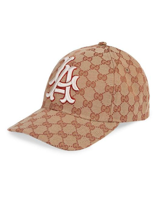 65a3184a768 Gucci - Brown Baseball Hat With La Angelstm Patch - Lyst ...