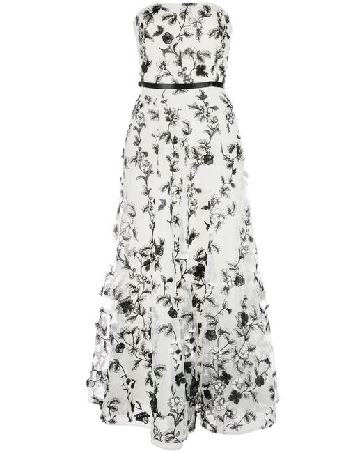 Marchesa notte White Floral Embroidered Strapless Gown