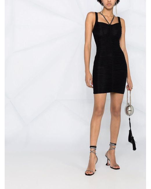 Philipp Plein シャーリング ショートドレス Black