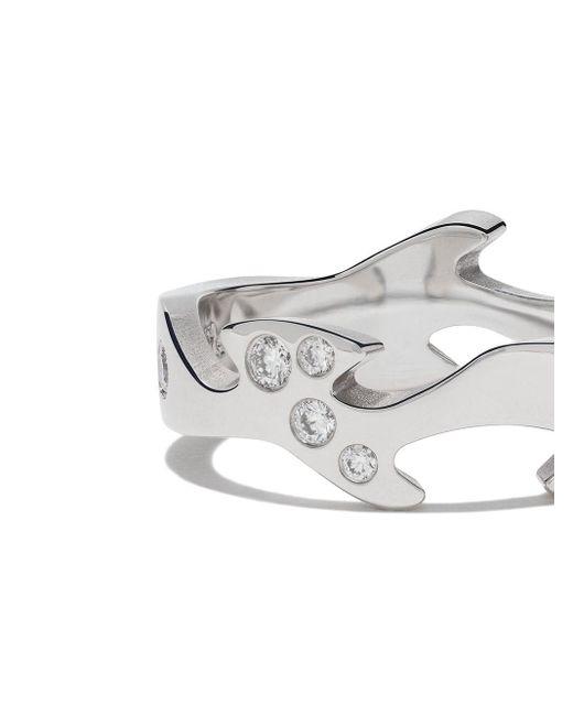 Georg Jensen White 18kt 'Fusion Centre' Weißgoldring mit Diamanten
