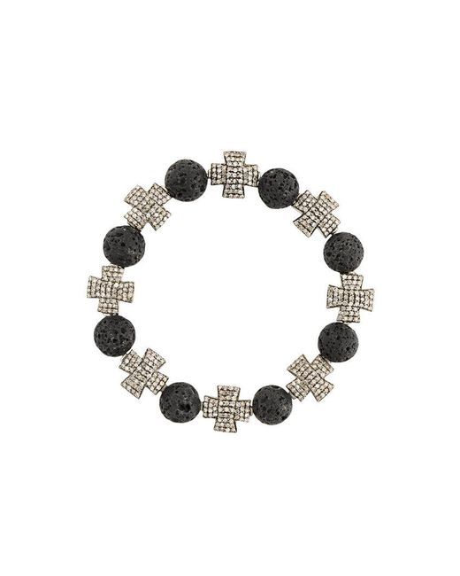 Loree Rodkin | Black Beaded Cross Bracelet | Lyst