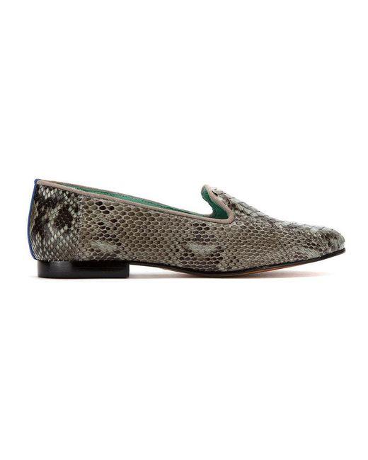 Chaussures Oiseau Bleu Peau Python Exótico Mocassins - Noir pV9PmRjJS