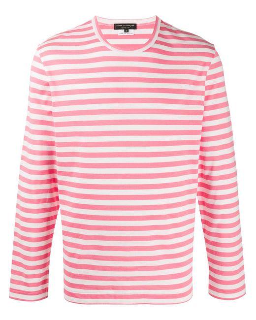 メンズ Comme des Garçons ストライプ ロングtシャツ Pink