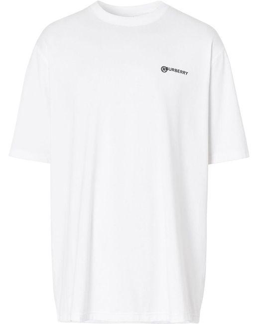 メンズ Burberry プリント オーバーサイズtシャツ White