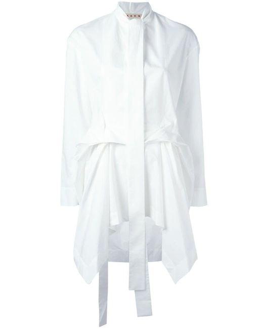 Marni White Draped Poplin Shirt