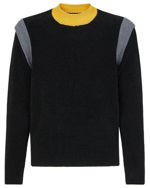 Jersey con hombros en contraste Fendi de hombre de color Black