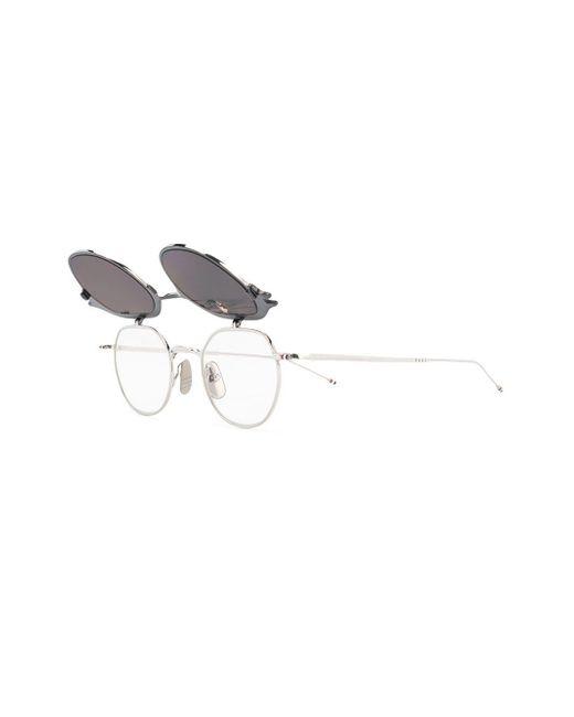 5321c9dc76f1 ... Thom Browne - Metallic Silver   Black Iron Sunglasses for Men ...