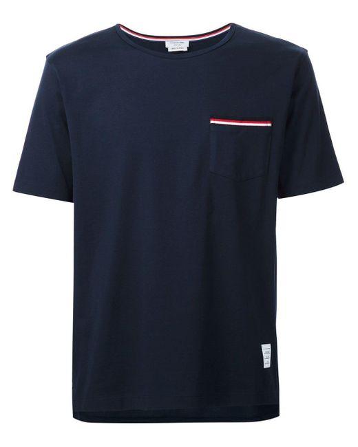 メンズ Thom Browne パッチポケット Tシャツ Blue