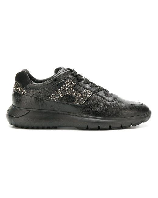 Hogan Black Glitter Embellished Sneakers