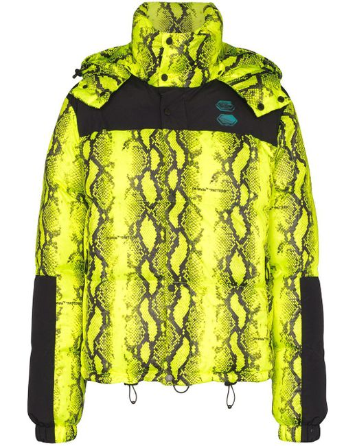 Пуховик Со Змеиным Принтом Off-White c/o Virgil Abloh для него, цвет: Green