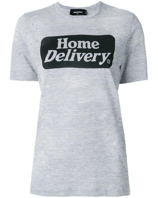 T-shirt Home Delivery DSquared² en coloris Gray