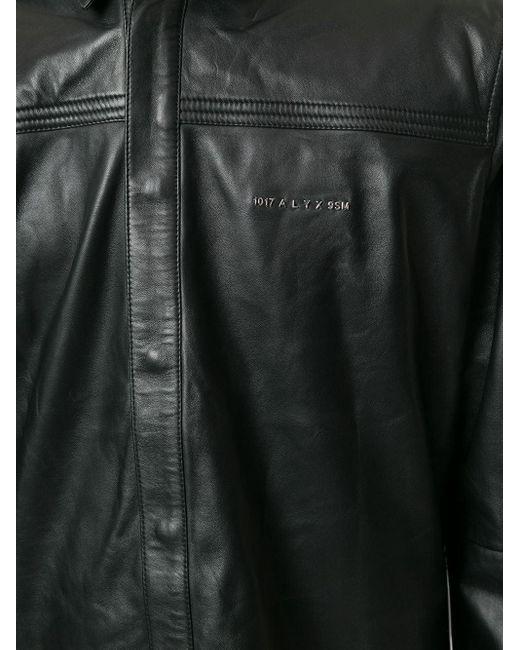 メンズ 1017 ALYX 9SM ロゴ レザー シャツ Black
