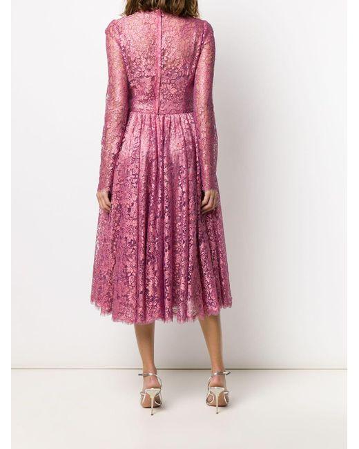 Плиссированное Платье Из Цветочного Кружева Dolce & Gabbana, цвет: Pink