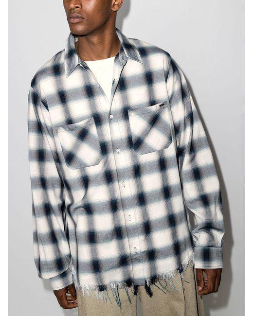 Camisa a cuadros con logo Amiri de hombre de color Blue