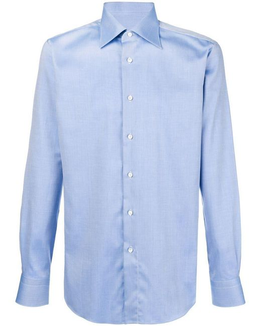 Brioni - Blue Micro Textured Shirt for Men - Lyst