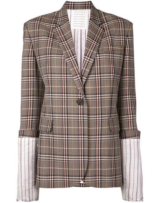 Monse Brown Large Plaid Cuff Jacket