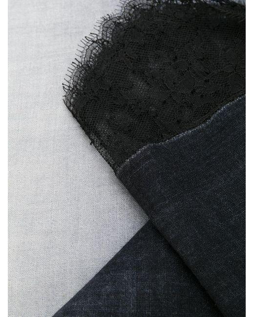 Fular con ribete de encaje Faliero Sarti de color Black