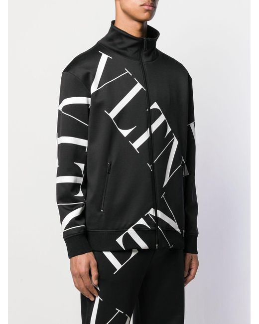 Valentino Logo-print Technical-jersey Track Jacket in Black for ...