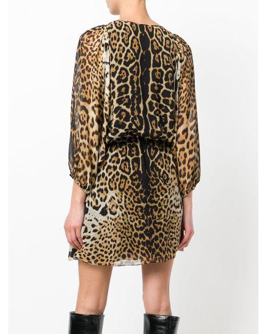 Короткое Платье С Леопардовым Принтом Saint Laurent, цвет: Black