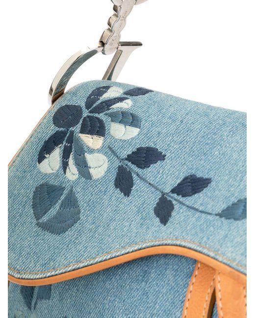 Dior Blue Pre-owned bestickte Satteltasche