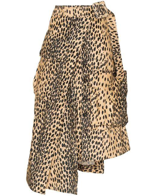 Юбка Миди Асимметричного Кроя С Леопардовым Принтом Jacquemus, цвет: Multicolor