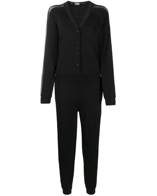 Karl Lagerfeld クレープ ジャンプスーツ Black