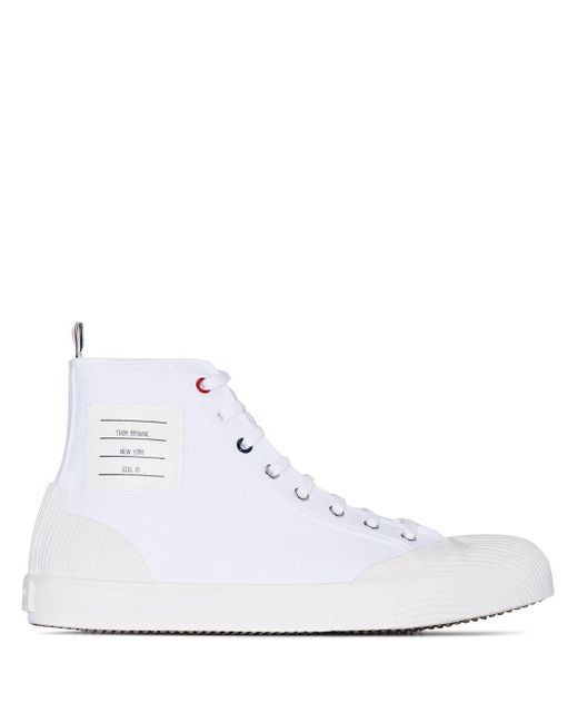 Высокие Кеды С Полосками 4-bar Thom Browne для него, цвет: White