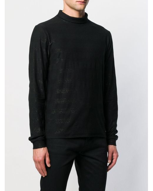 Pull pailleté à col roulé Saint Laurent pour homme en coloris Black