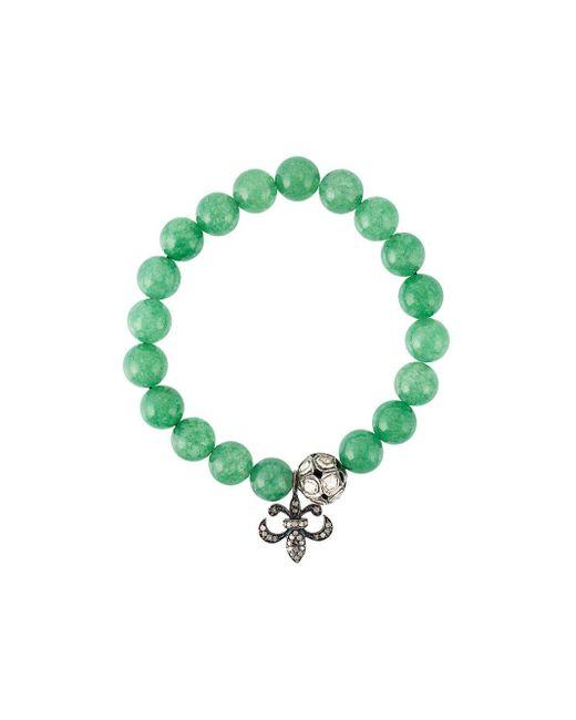 Gemco Green Bead Diamond Charm Bracelet
