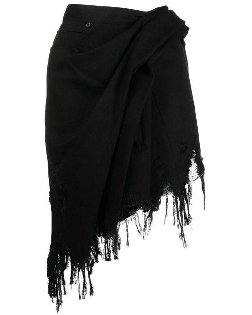Alexander Wang Black Fringed Asymmetric Mini Skirt