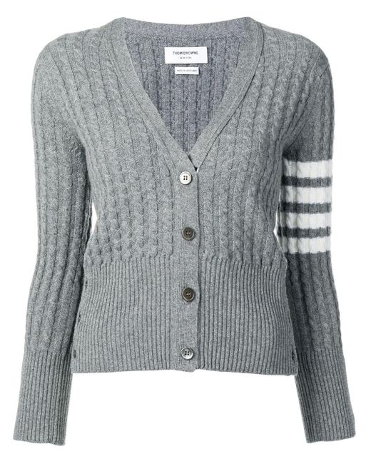 Thom Browne 4-bar Baby Cable Cashmere Cardigan Gray