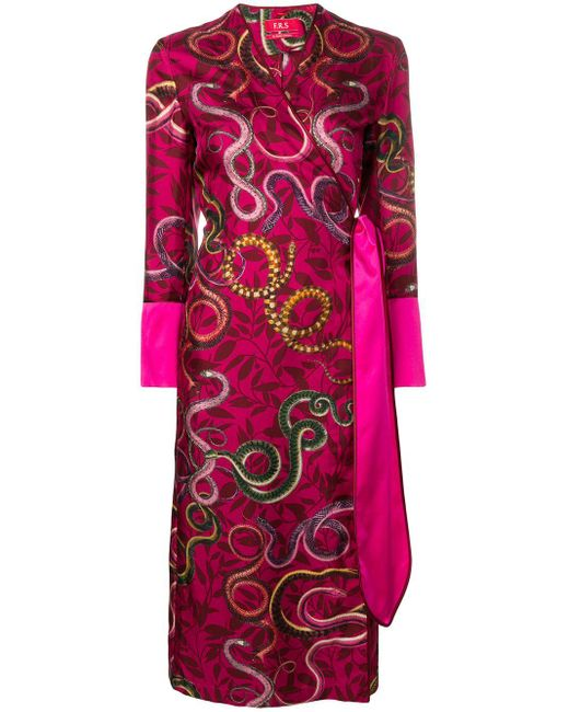 F.R.S For Restless Sleepers Snake Print Wrap Dress Pink