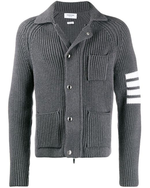 メンズ Thom Browne ミディアムグレー ウール カーディガンステッチ 4bar ジャケット Gray