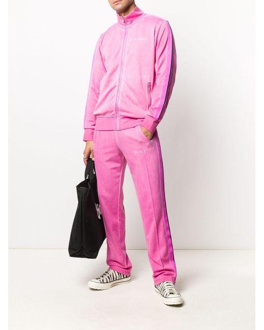 メンズ Palm Angels サイドストライプ トラックパンツ Pink