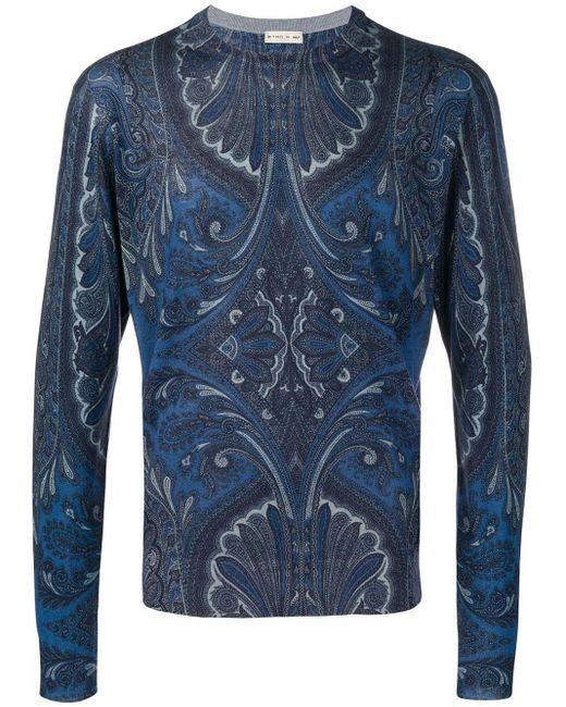 メンズ Etro ペイズリー セーター Blue