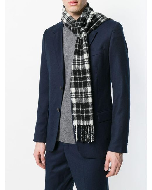 Écharpe noir et blanc à carreaux AMI pour homme en coloris Black