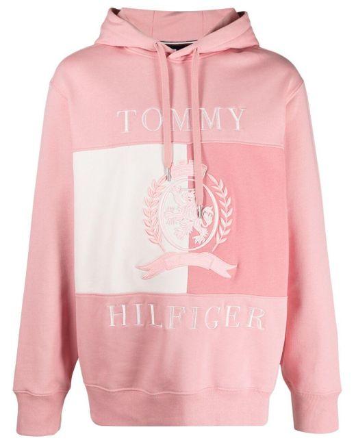 メンズ Tommy Hilfiger コットンフリース パーカー Pink