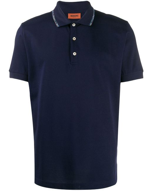 メンズ Missoni ロゴ ポロシャツ Blue