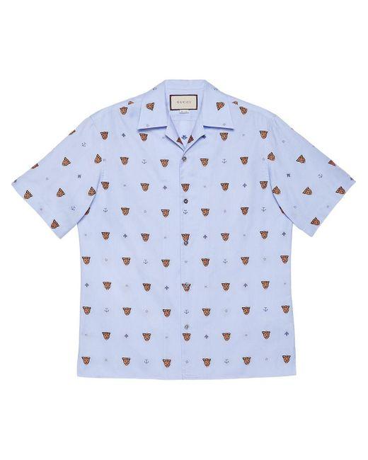 メンズ Gucci タイガーヘッド シャツ Blue