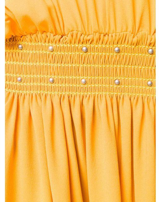Платье Со Сборками И Заклепками Saint Laurent, цвет: Yellow