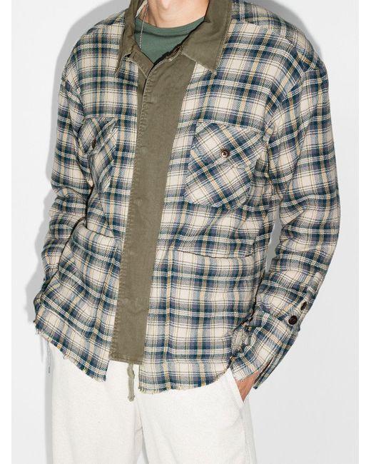 メンズ Greg Lauren チェック シャツジャケット Blue