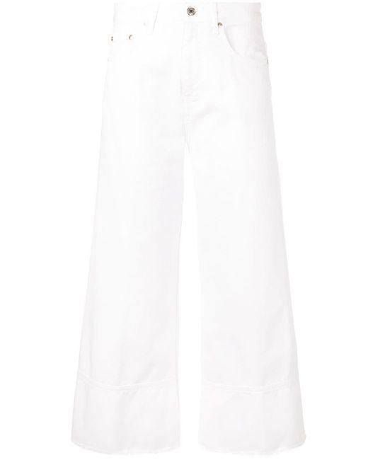 Jeans crop a gamba ampia di MSGM in White
