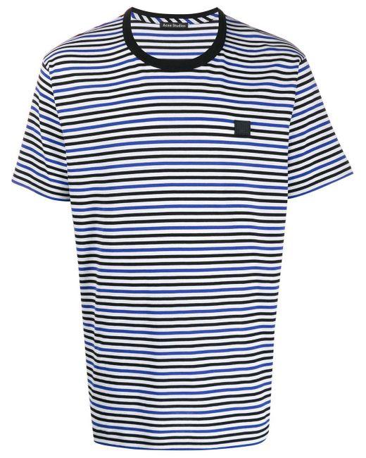 Acne ストライプ Tシャツ Blue