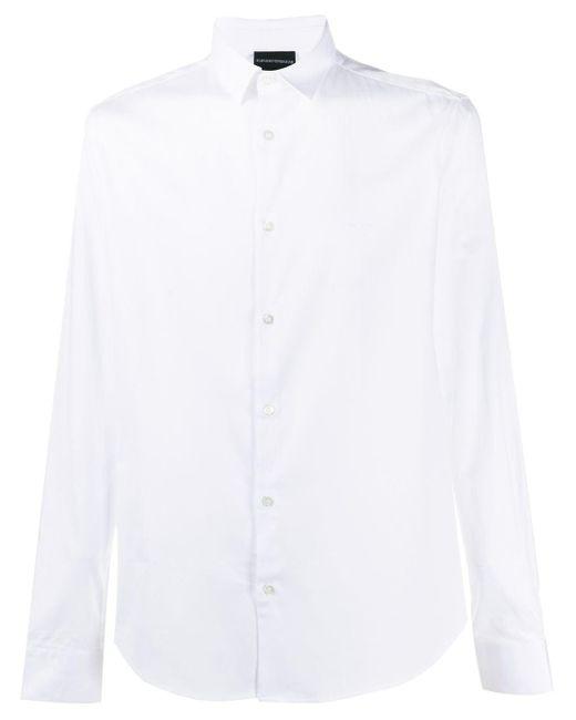 Рубашка С Длинными Рукавами Emporio Armani для него, цвет: White