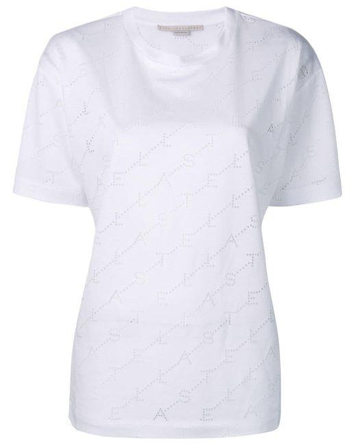 Stella McCartney Camiseta con perforación del logo de mujer de color blanco