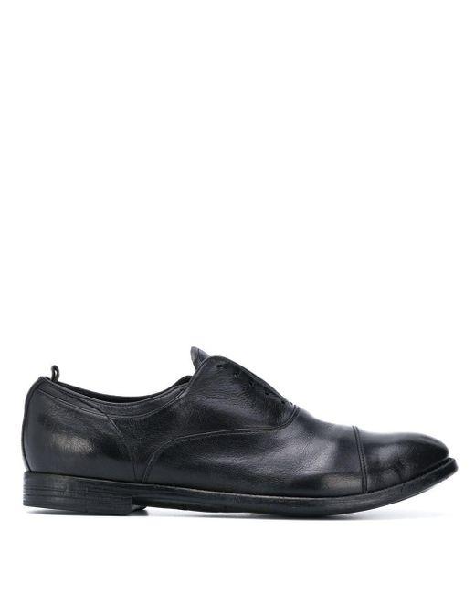 Officine Creative Black Laceless Oxford Shoes for men