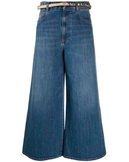 Укороченные Джинсы Широкого Кроя Stella McCartney, цвет: Blue