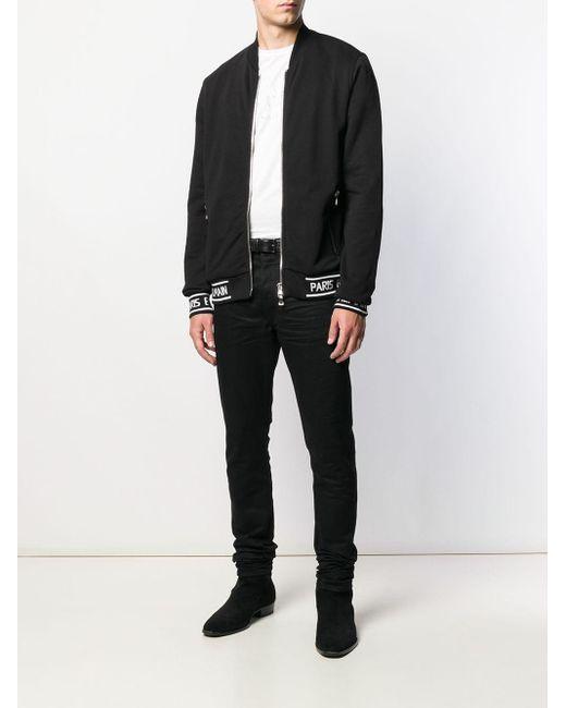 メンズ Balmain ロゴ ボンバージャケット Black