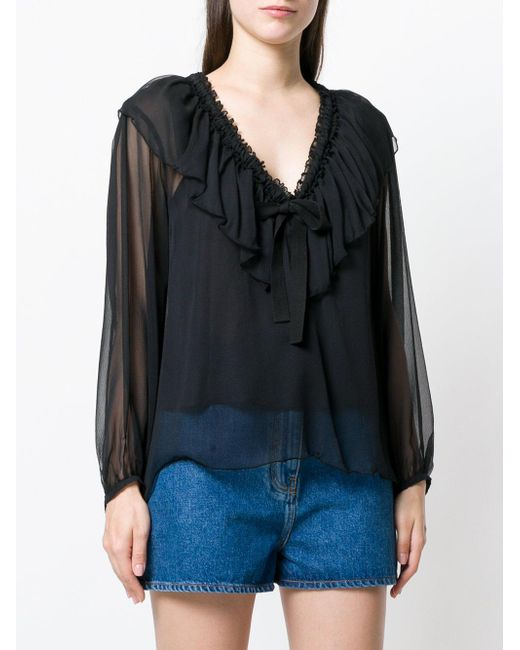 63823fe7fff ... See By Chloé - Black Ruffled Neck Tie Blouse - Lyst ...