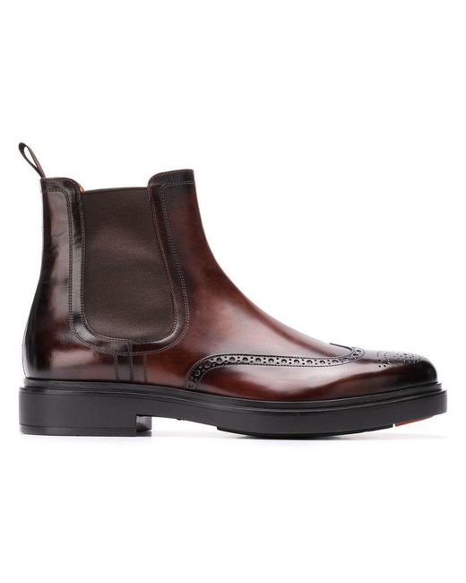 Santoni - Brown Elasticated Ankle Boots for Men - Lyst